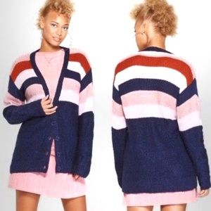 WILD FABLE NAVY STRIPED OVERSIZED CARDIGAN SWEATER